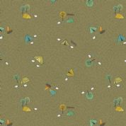 Lewis & Irene - Littondale - 6527 - Camping on Olive Green - A359.3 - Cotton Fabric